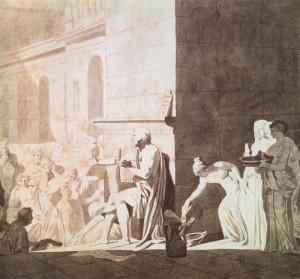 Homère récitant ses poèmes aux Grecs. Dessin de Jacques-Louis David (1794).