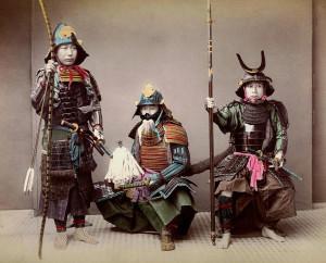 Trois samouraïs, deuxième moitié du XIXe siècle. Crédit : DR