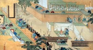Le seppuku de Ōishi Kuranosuke Yoshio. Epoque Edo. Crédit : Domaine public.