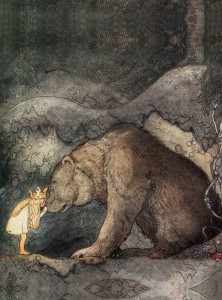 "John Bauer (1882 - 1918) : ""She kissed a bear on the nose"". Source : Novopress"