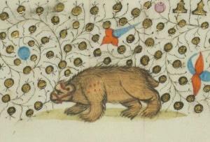 L'ours est évidemment présent dans les Grandes Chroniques de France (1460). Chateauroux, Bibliothèque Municipale, Ms. 5 (B. 244), fol. 171v.