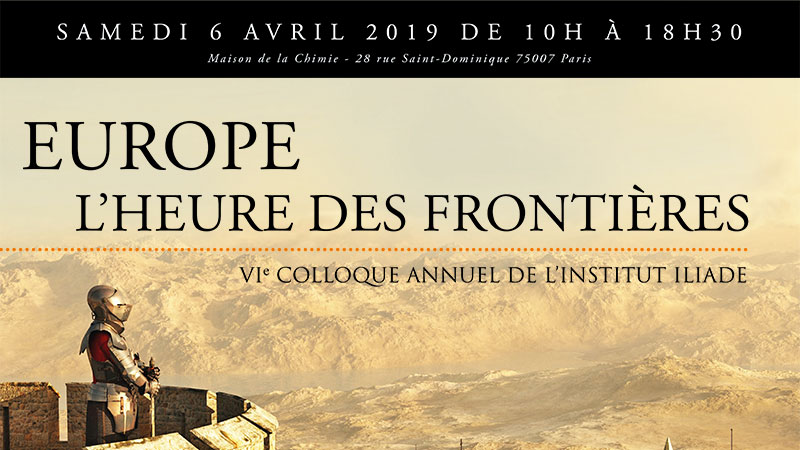 "Poster for the Iliad Institute's upcoming annual conference: ""Europe: The Time for Borders."""