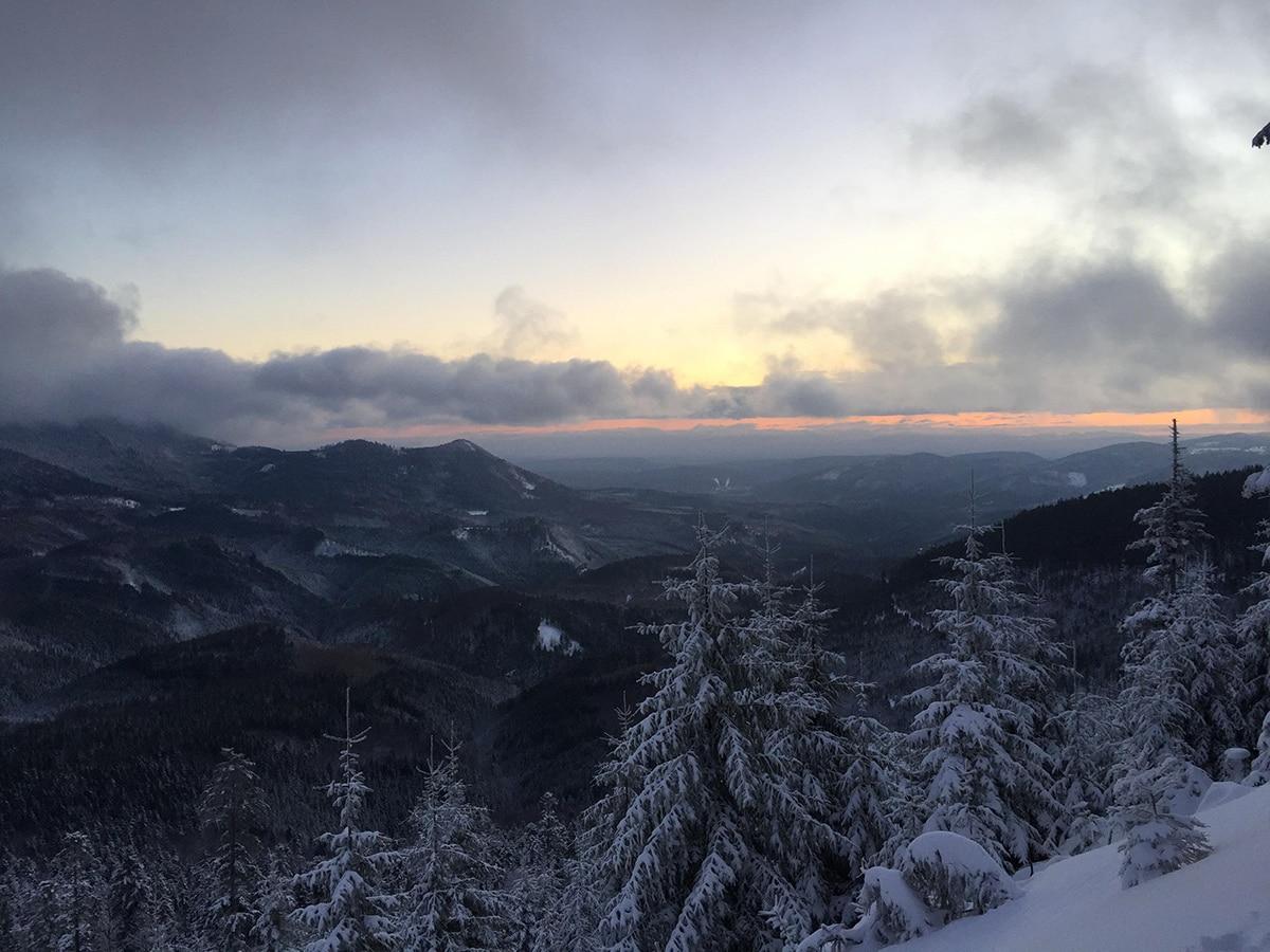 Vue sur la plaine d'Alsace au petit matin