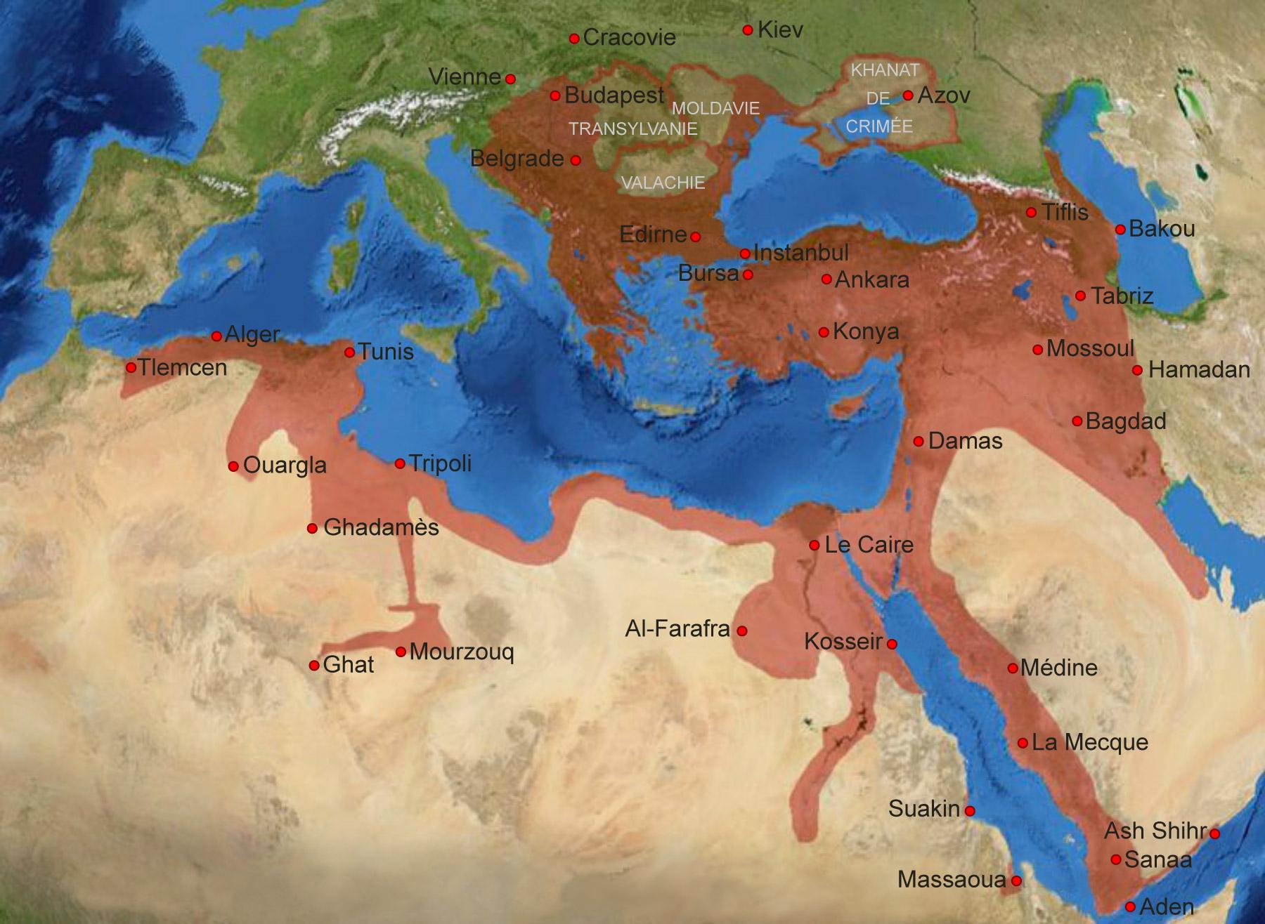L'Empire ottoman à son apogée, vers la fin du XVIe siècle (1600).