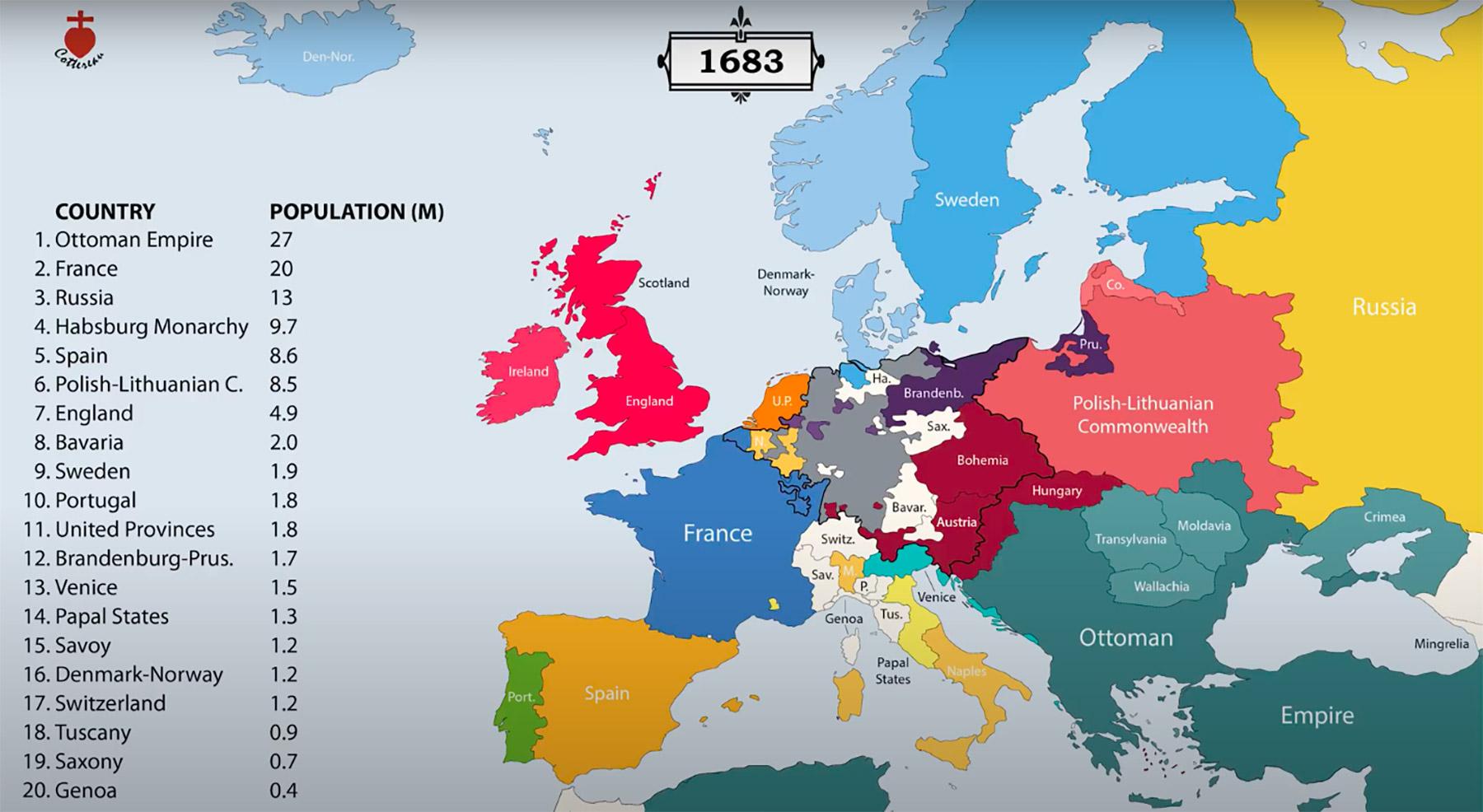 Carte de l'Europe en 1683