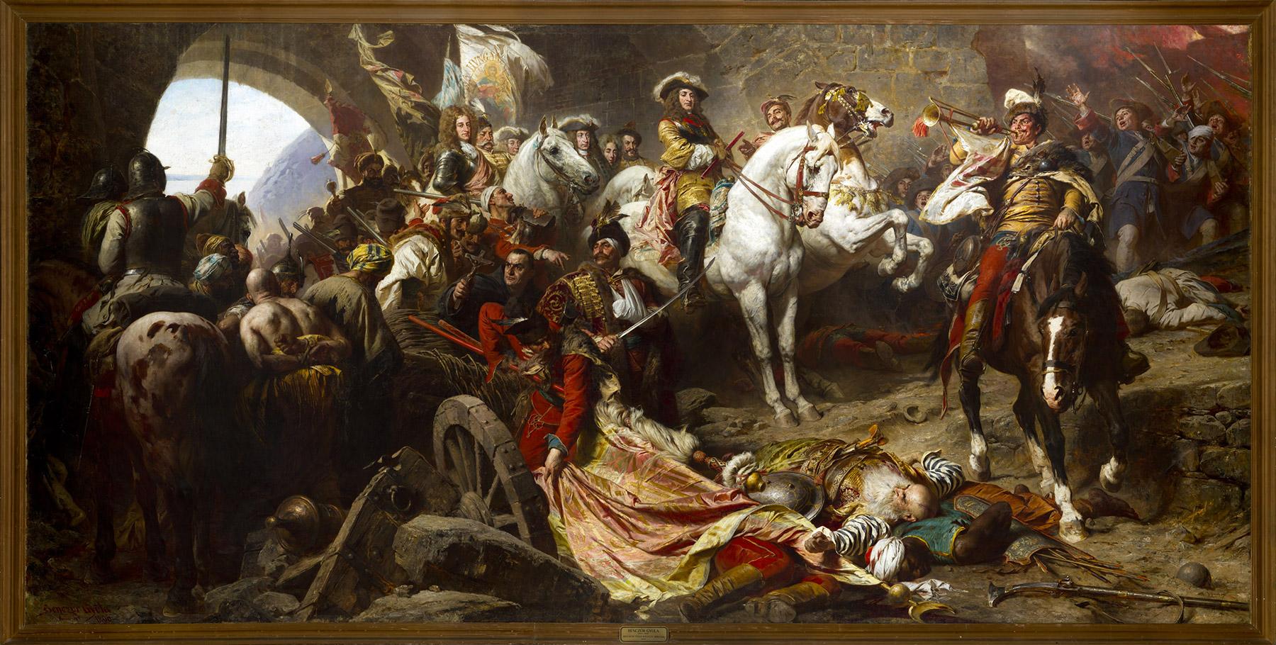 Reprise du château de Buda en 1686, par Charles V duc de Lorraine (à cheval à gauche) et Eugène prince de Savoie (à cheval à droite). Huile sur toile de Benczúr Gyula (1896) exposée à la galerie nationale hongroise, Budapest. Crédits : Creative Commons.