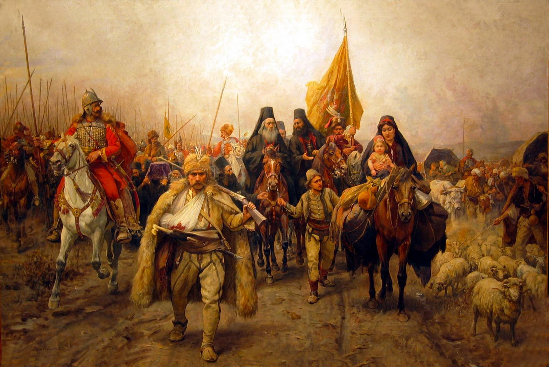 Paja Jovanović (1859–1957), La migration des Serbes (1690), huile sur toile, 1896, Pančevo Museum.