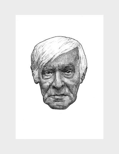 Guillaume Faye, dessin à l'encre, 210 mm x 297 mm, 2019