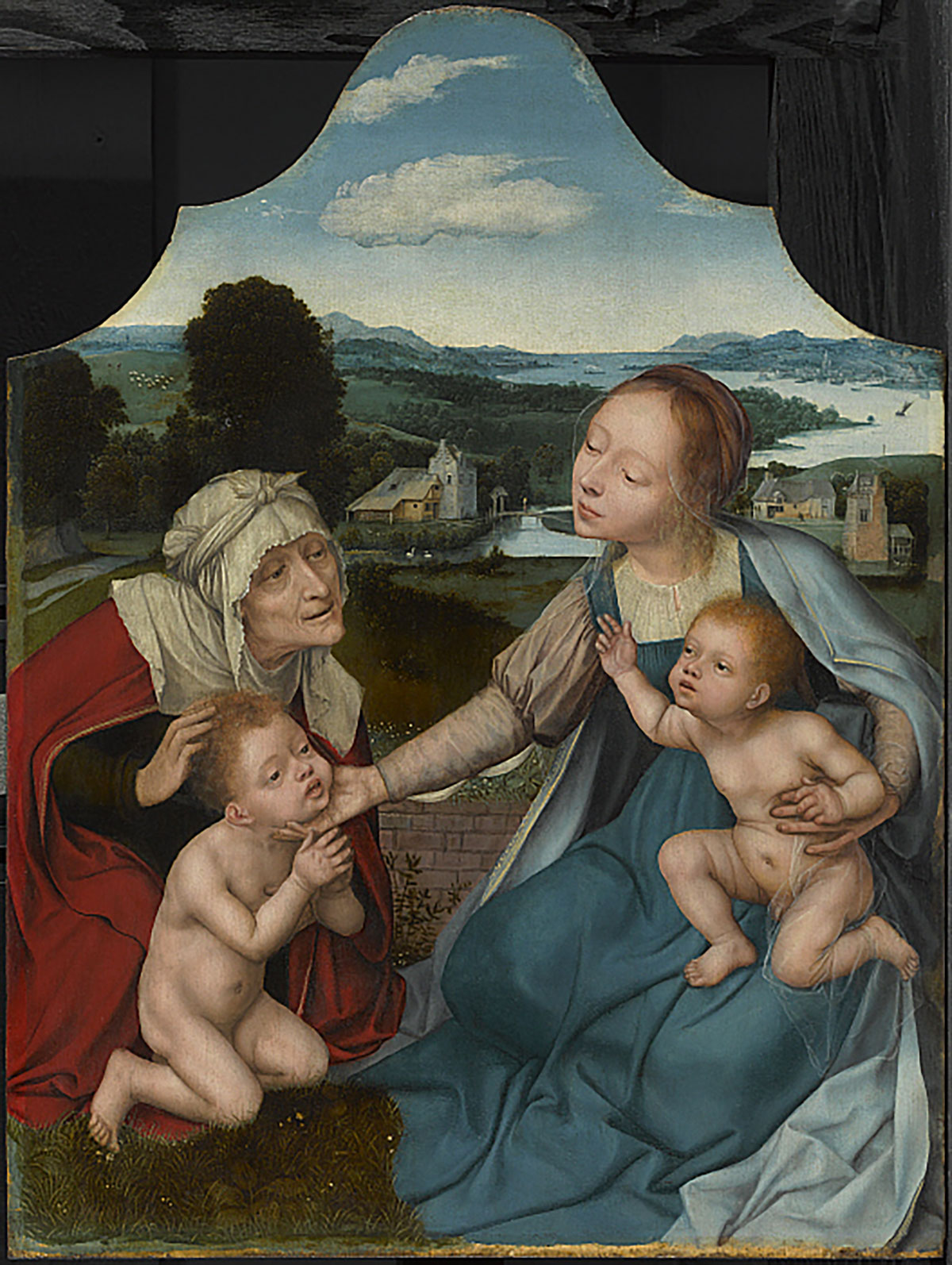 Vierge à l'enfant avec Sainte Elizabeth et Saint Jean-Baptiste, c. 1520–25, Huile sur bois, 63 x 48.2 cm Clark Art Institute