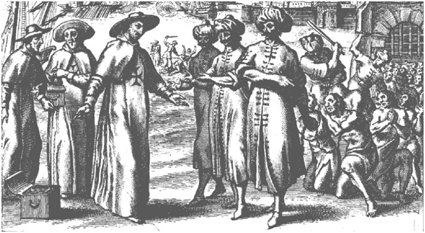 Pères de l'Ordre des Trinitaires négociant le rachat d'esclaves français à Alger au début du XVIIe siècle.