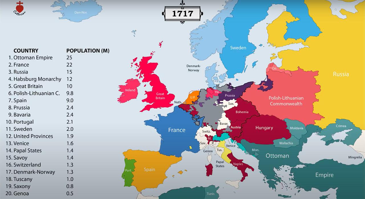 Carte : l'Europe en 1717