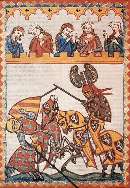 Scène de tournois dans le Codex Manesse, XIVe siècle.